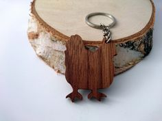 Wooden Chicken Keychain Walnut Wood Animal Keychain by PongiWorks