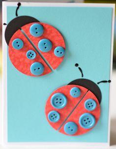 Lady Bug Card Ladybird Card Blue Red Black by CardsbyJeweleighaB, $4.00