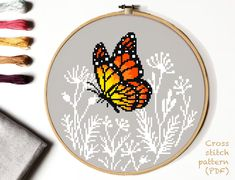 Butterfly Cross Stitch, Cute Cross Stitch, Counted Cross Stitch Kits, Cross Stitch Charts, Hand Embroidery Designs, Embroidery Patterns, Cross Stitching, Cross Stitch Embroidery, Modern Cross Stitch Patterns