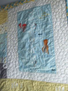 Ocean Life  Organic Baby Quilt by sandboxquilts on Etsy, $110.00