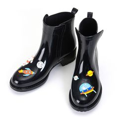 Harajuku cute cat planet rain boots
