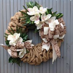 Magnolia burlap wreath,Burlap wreath,Summer floral wreath,magnolias,gardening,wreath floral,burlap, cottage,shabby chic, by TranquilitybyAney on Etsy