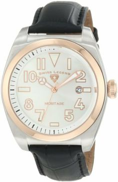 Swiss Legend Men's 20434-02S-RB Heritage Silver Dial Watch Swiss Legend. $99.99. Water-resistant to 100 M (330 feet). Sapphire crystal; stainless steel case; black leather strap with alligator pattern. Silver dial with rose gold tone and white hands, hour markers and Arabic numerals; luminous; rose gold ion-plated stainless steel bezel and screw-down crown. Date window at 3:00. Swiss quartz movement. Save 87%!