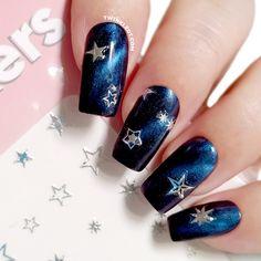 Navy And Silver Nails, Dark Blue Nails, Navy Nails, Silver Nail Art, Green Nails, Gold Nails, Navy Nail Art, Lilac Nails, Bling Nails