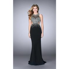Gigi 23896 Pageant Dress Long High Neckline Sleeveless ($378) ❤ liked on Polyvore featuring dresses, gowns, black, formal dresses, high neck prom dresses, long formal gowns, long formal dresses, long prom gowns and long evening dresses