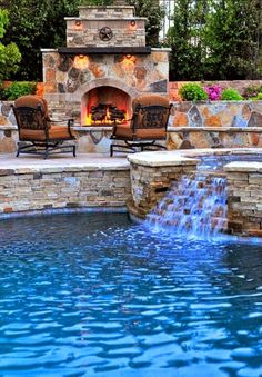 Beautiful backyard pool and fireplace