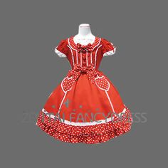 Short Sleeves Round Neck Red Sweet Lolita Dress With Bow Knots