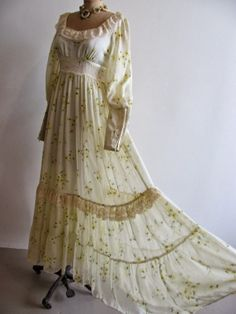 gunne sax wedding dress | ... Gunne Sax Yellow Daisy Sheer Gauze Floral Wedding Boho Full Maxi Dress