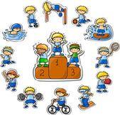 Conjunto de ícones de esporte do vetor dos desenhos animados — Ilustração de Stock