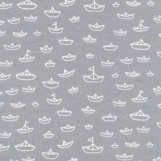 Bio-Stoffe - The Fleet Gray / Seven Seas / bio baumwollstoff - ein Designerstück von OrganicFabrics bei DaWanda