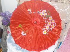 Smaller Vintage Redish Pink  Flowered Oriental Bamboo silk or Nylon Umbrella Parasol by Daysgonebytreasures on Etsy