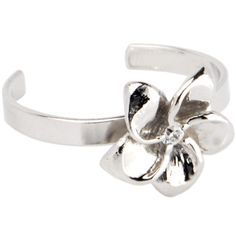 Sterling Silver 925 Cubic Zirconia FLOWER BLOOM Toe Ring | Body Candy Body Jewelry #bodycandy #toering