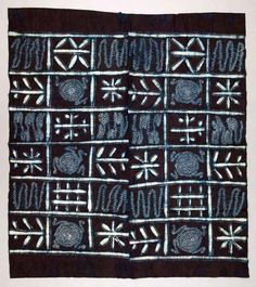 Africa | Woman's wrapper ~ adire ~ from the Yoruba people of Nigeria | ca. 1968 - 1971 | Cotton; stencil resist and indigo tie-dyed
