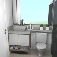 Banheiro Social  Mais um render dos nossos planejados. Achei que ficou tão lindo esse armário, amei o nicho na parte debaixo. Nosso banheiro será praticamente como na foto, a diferença é que nossa cuba é quadrada, a pia será no branco prime e o nosso box será com vidro incolor. O armário dos dois banheiros é igual