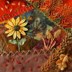 I ❤ crazy quilting . . . Autumn Block for Ritva- ivoryblushroses