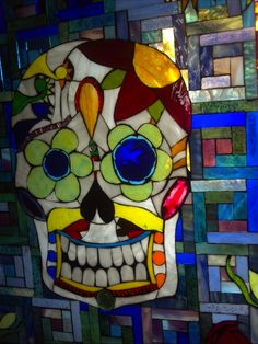Stunning stained glass skull