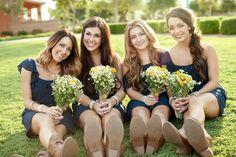 Navy and Daisies Bridesmaids