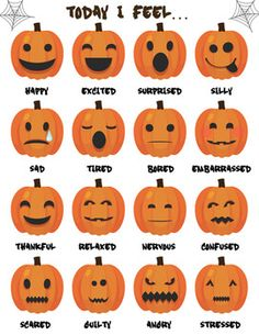 Who doesn& love jack-o-lanterns? Use this Fall-themed pumpkin emotions poster as part of your pragmatic therapy or for any students who need support in emotive vocabulary. Autumn Activities, Craft Activities, Preschool Crafts, Crafts For Kids, Pumpkin Crafts Kids, Toddler Crafts, Halloween Kids, Happy Halloween, Halloween Pumpkins