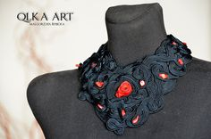 Black  &  Red  Necklace  Maxi  Soutache. by QlkaArt on Etsy