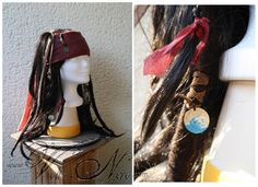 Captain Jack Sparrow Wig cosplay costume hat Pirates of the Caribbean Dread Braids, Dreads, Costume Hats, Cosplay Costumes, Jack Sparrow Costume, Captain Jack Sparrow, Pirates Of The Caribbean, Human Hair Extensions, Real Leather
