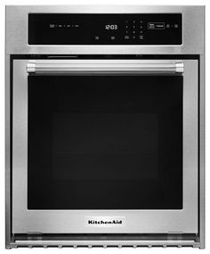 Single Electric Wall Oven Self-Cleaning with Convection in Stainless Steel Major Kitchen Appliances, Kitchen Stove, Electric Wall Oven, Convection Cooking, Single Wall Oven, Oven Racks, Heating Element, No Cook Meals, Kitchenaid