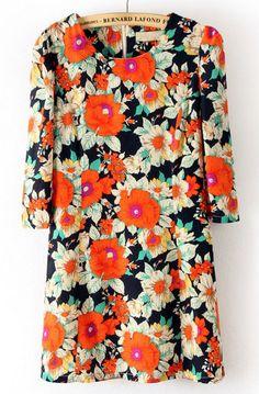Robe+droite+Marine+Col+rond+Zip+Fleurs+Imprimées++EUR€21.43
