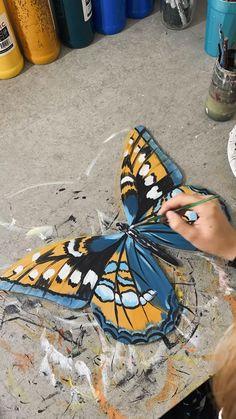 Diy Wall Painting, Mirror Painting, Dot Art Painting, Butterfly Drawing, Butterfly Painting, Mini Canvas Art, Canvas Wall Art, Harry Potter Painting, Elephant Artwork