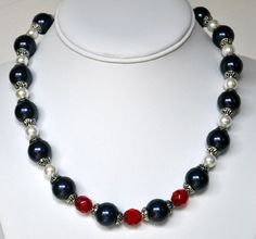 Pearl Necklace Blue Handmade Beaded Jewelry in Silver Beaded Necklace Swarovski Pearls.