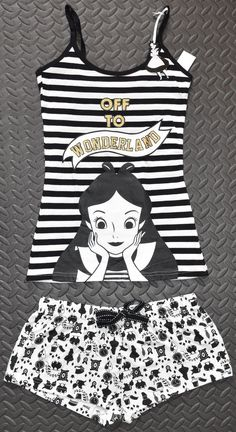 PRIMARK Alice Off To Wonderland PJ Vest And Short Set Sizes 6-20 NEW