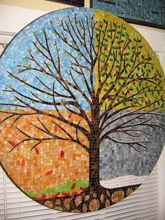 "Every 'season' comes to an end, enjoy as much as possible, learn as much as you can and embrace the new beginning each season brings ♡ ""Seasons Tree"", Will Towns, Mosaic Artist Abaculus Art Mosaic Tile Art, Mosaic Artwork, Mosaic Crafts, Mosaic Projects, Mosaic Glass, Mosaic Mirrors, Mosaic Garden Art, L'art Du Vitrail, Mosaic Flowers"