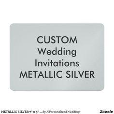 "METALLIC SILVER 7"" x 5"" Wedding Invitations"