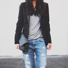 The Basics - bf jeans, grey tee & black blazer - @style_space- #webstagram