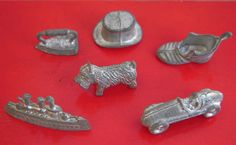 6 Vintage 1960s Metal Monopoly Playing Pieces - Hat, Dog, Ship, Iron, Car & Boot