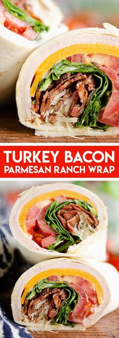 Turkey Bacon Parmesan Ranch Wrap is a quick and easy sandwich recipe perfect for packing a lunch on the go or a simple weeknight meal. Easy Sandwich Recipes, Bacon Sandwich, Lunch Recipes, Dinner Recipes, Cooking Recipes, Healthy Recipes, Sandwich Ideas, Summer Recipes, Easy Recipes