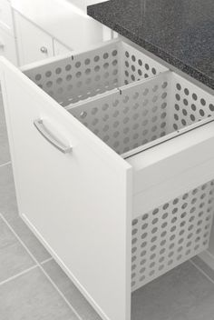 Tanova Laundry: Pull Out Baskets and Bags Keep Laundry Tidy… Tanova Deluxe Laundry: Cabinet, Steel Baskets, Drawer Front Type. Laundry Closet, Laundry Room Organization, Laundry Storage, Laundry Hamper, Laundry In Bathroom, Laundry Bags, Laundry Cabinets, Modern Laundry Rooms, Laundry Room Inspiration