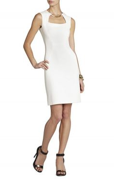 """$165.00 This sleek sheath transitions perfectly from desk to dinner -- just add bold accessories and a sleek updo. Round neck. Sleeveless. Classic fit.Cutout detail at chest. Blocked construction. Tubular beading at neckline.Concealed center back zipper with hook-and-eye closure. Measures approximately 39"""" from shoulder to hem.Crepe: Polyester, Viscose, Spandex. Lining: Polyester.Imported. Dry Clean"""