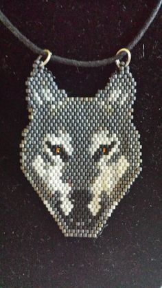 Grey Wolf Hand Beaded Choker/Necklace by FaeryWolfsFancies on Etsy