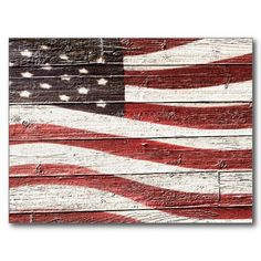 SOLD ! Painted #AmericanFlag on Rustic Wood Texture Post Cards by #RedWhiteAndBlue1 shipping to Chardon, OH #USA #Patriotic