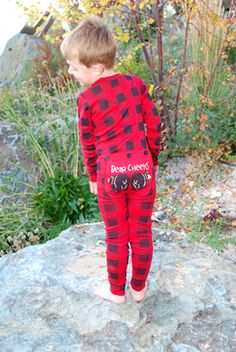 "Lazy One Kids Unisex Red Plaid ""Bear Cheeks FlapJack $28 - SHOP http://www.thepajamacompany.com/store/18390.html?category_id=7582 #valentinesday #pajamas"