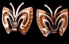 Vintage Copper Butterfly Renoir Earrings Signed Figural | eBay