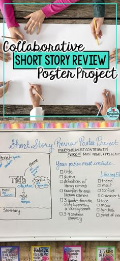 Your students will love this collaborative short story review poster project. Ideal for middle school ELA or the high school English classroom, this poster project places students in charge of the review and gets them thinking about literary elements. #collaborativelearning #shortstoryunit #middleschoolELA #highschoolEnglish #teachingELA