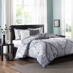 Home Essence Adela 6-Piece Duvet Cover Bedding Set, Gray