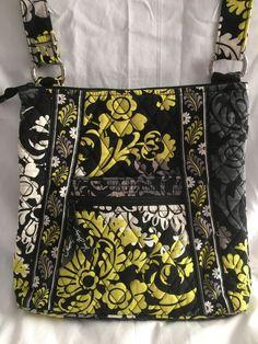 4351ff9b49c3 Vera Bradley Hipster Purse Crossbody Bag Baroque Retired Print Black Gray