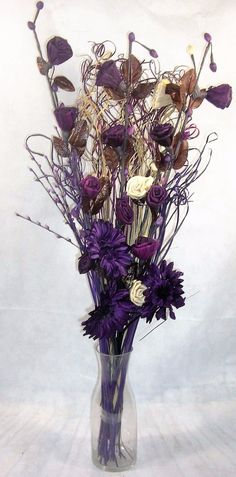 95 cm #cream & plum #dried /artificial #flower bouquet conservatory, lounge gift ,  View more on the LINK: http://www.zeppy.io/product/gb/2/121422331181/