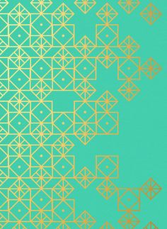 Turquoise and gold, art print by Cat Coquillette. I want to paint the walls of my future home with geometric patterns and designs. Geometric Patterns, Graphic Patterns, Geometric Designs, Textures Patterns, Geometric Shapes, Fabric Patterns, Color Patterns, Modern Patterns, Abstract Geometric Art