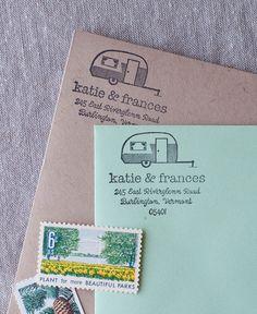 vintage camper address stamp, airstream trailer stationery and stamp