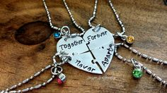 Together Forever Never Apart Four Piece Puzzle Heart Necklace Set, Handstamped 4 Split Heart Necklace Set, Sisters Jewelry, Best Friends Set by JazzieJsJewelry on Etsy