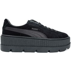 Puma Fenty X Puma by Rihanna Cleated Creeper (€130) ❤ liked on Polyvore featuring shoes, black, puma shoes, black shoes, mid-heel shoes, black creeper shoes and puma creeper