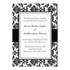 Shop Damask Monogram Wedding Invitation created by Damask_Shoppe. Personalize it with photos & text or purchase as is! Black And White Wedding Invitations, Monogram Wedding Invitations, Elegant Wedding Invitations, Wedding Invitation Templates, Invitation Cards, Invites, Wedding Black, Invitation Ideas, Dream Wedding