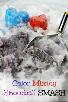 This heart smashing Valentine's Day activity is tons of fun - and a wonderful way to learn about color mixing! Such fun ways to play in the snow for preschoolers!